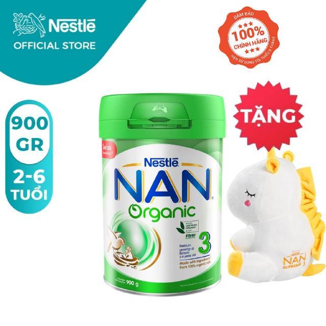 Sữa Bột Nestle NAN ORGANIC 3 – Hộp 900gram [Tặng 1 Gối Ôm Kỳ Lân]