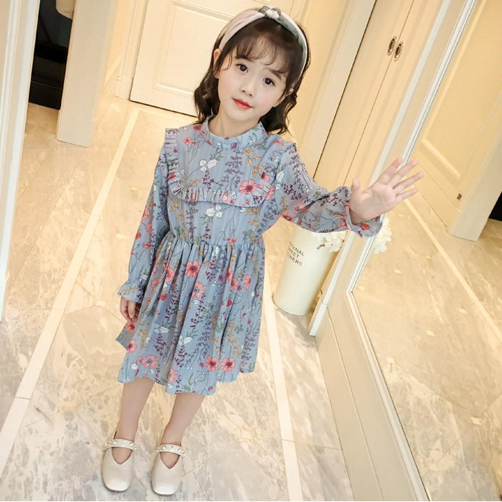 Children Kid Girls Floral Print Ruffles Dress Clothes Formal Casaul Outfits