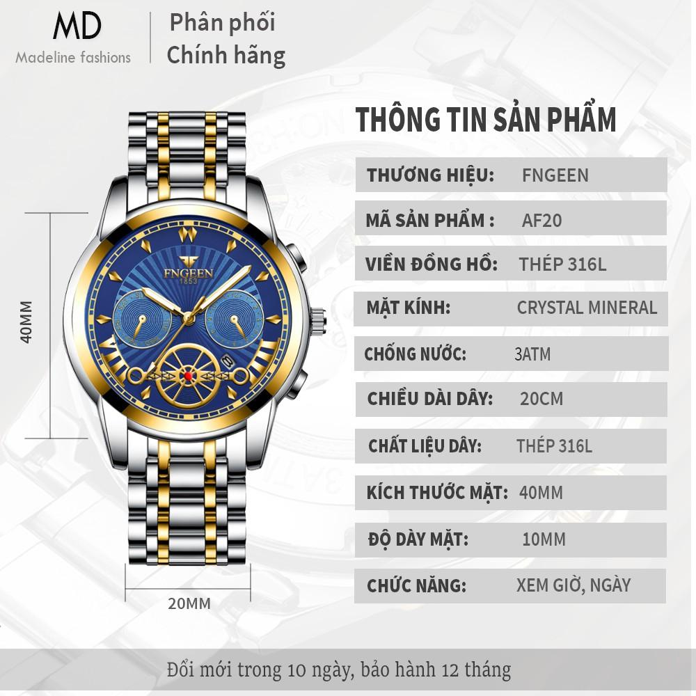 Đồng hồ nam FNGEEN chính hãng, tuyệt đẹp, dây thép bền màu, kiểu dáng giả cơ độc đáo (Mã: AF20)
