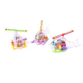 KJ♠ 2Pcs Mini Clockwork Transparent Aircraft Somersault Running Wind Up Toy