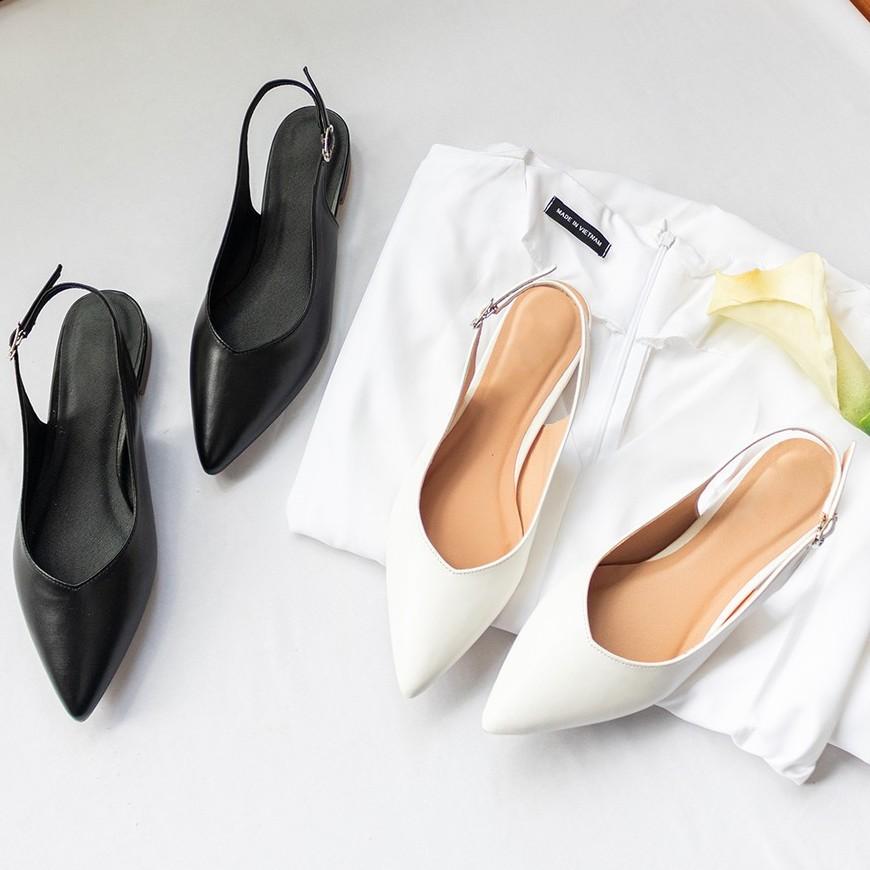Giày nữ đế thấp thời trang Byanca mũi nhọn phối màu tinh tế, gót hở cao 2cm màu trắng _ EL001