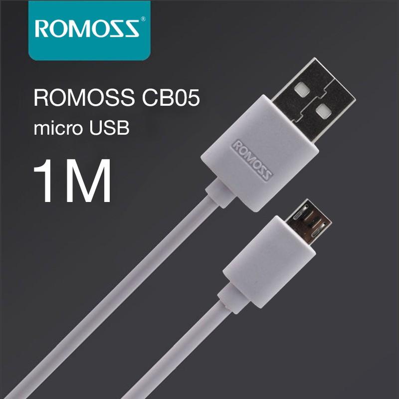 [Mã ELMALLMT giảm 8% đơn 1TR] Cáp sạc nhanh micro USB Romoss thường bản tròn dài 1m - Hãng phân phối chính thức