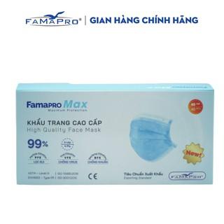 Khẩu trang y tế cao cấp 4 lớp kháng khuẩn Famapro max màu xanh (40 cái hộp) thumbnail