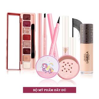 Bộ mỹ phẩm 6 món cơ bản giá tốt - Kem BB+Phấn trang điểm+Bảng phấn mắt 8 màu+Chì kẻ mày đen+Kẻ mắt+Mascara-HGLML-T6 thumbnail