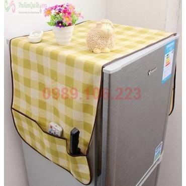 Khăn che tủ lạnh có túi caro 6586