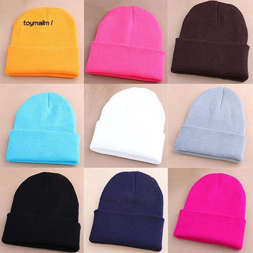 TYML_Men Women Beanie Knit Ski Cap Hip-Hop Winter Warm Elastic Wool Yarn Cuff Hat