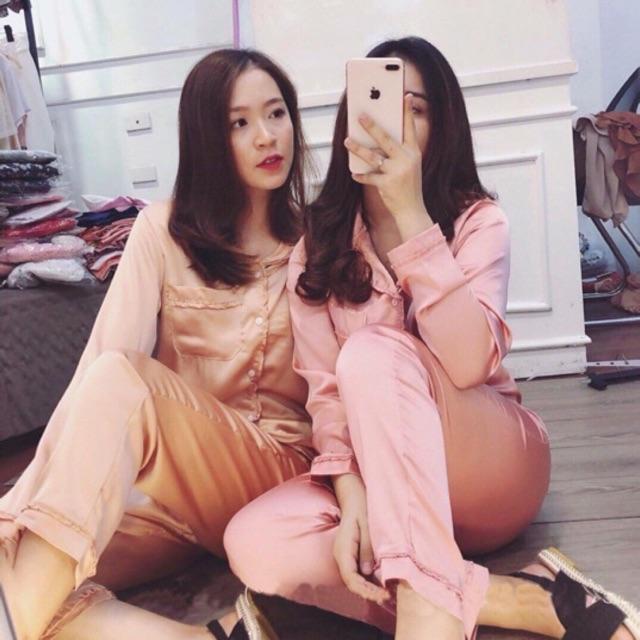 Bộ đồ Pijama lụa [ẢNH THẬT+VIDEO] Bộ lụa dài tay viền bèo xinh xắn nơ túi [Loại 1 Cao cấp]