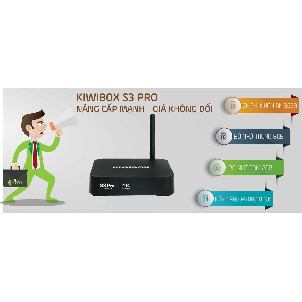 Android Tivi Box Ram 2GB - Kiwi box S3 Pro - Tặng nhiều tài khoản xem phim