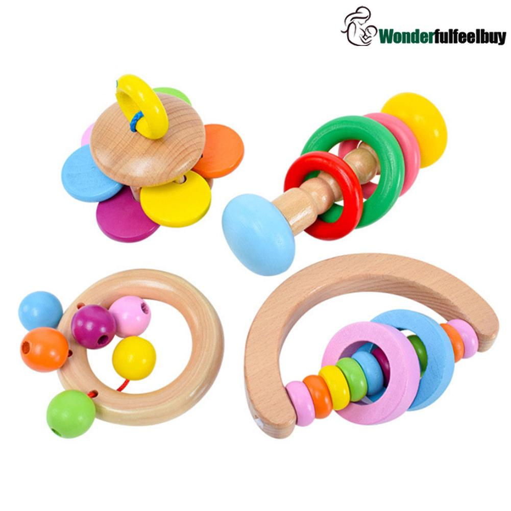 [ready stock]Baby Wood Bell Rattles Kids Shaking Musical Handbells Toddlers Educational Toy