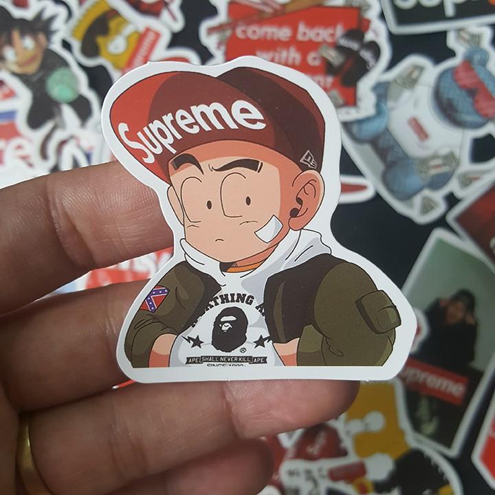 Bộ Sticker dán cao cấp chủ đề SUPREME HOẠT HÌNH - Dùng dán Xe, dán mũ bảo hiểm, dán Laptop...