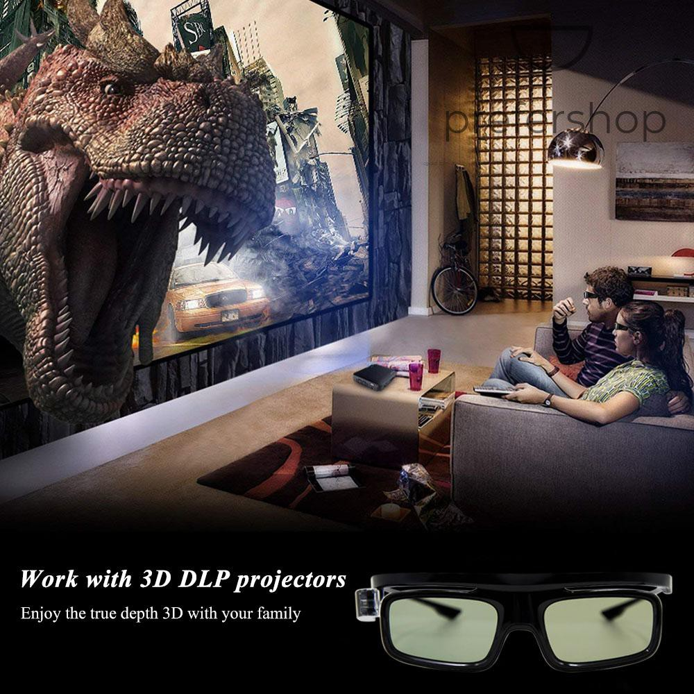 GL1800 Projector 3D Glasses Active Shutter Rechargeable DLP-Link for All 3D DLP Projectors Optama Acer BenQ ViewSonic Sharp Dell