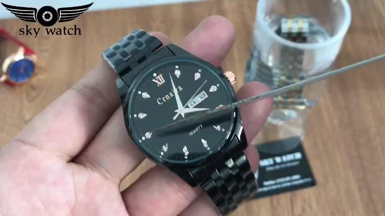 Đồng hồ nam CRNAIRA C8866 doanh nhân dây thép cao cấp + Tặng vòng tay cao cấp