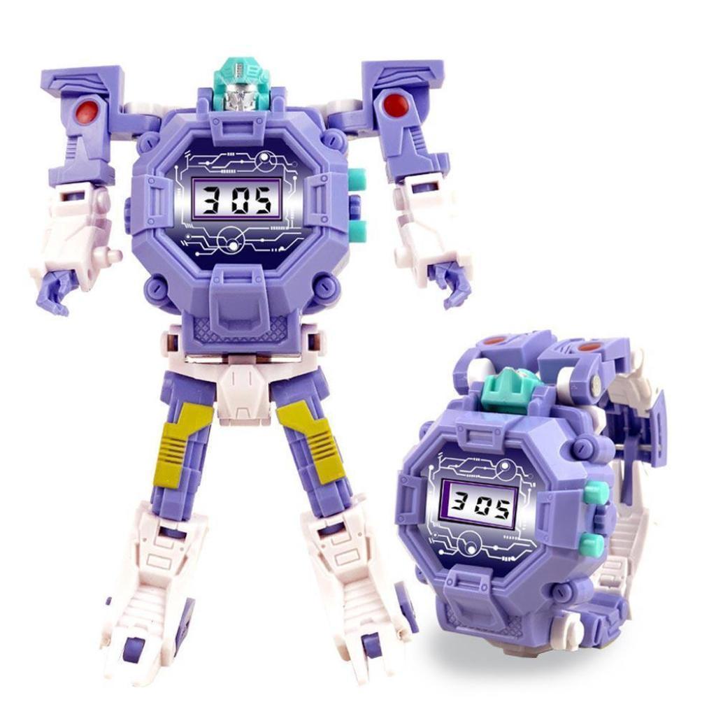 นาฬิกาหุ่นยนต์ของเล่น 2 ใน 1 นาฬิกาหุ่นยนต์หุ่นยนต์แปลงร่าง SK-1114-1 ของเล่นสำหรับ 3,4, 5-10 ปีชายหญิงอิเล็กทรอนิกส์ของ