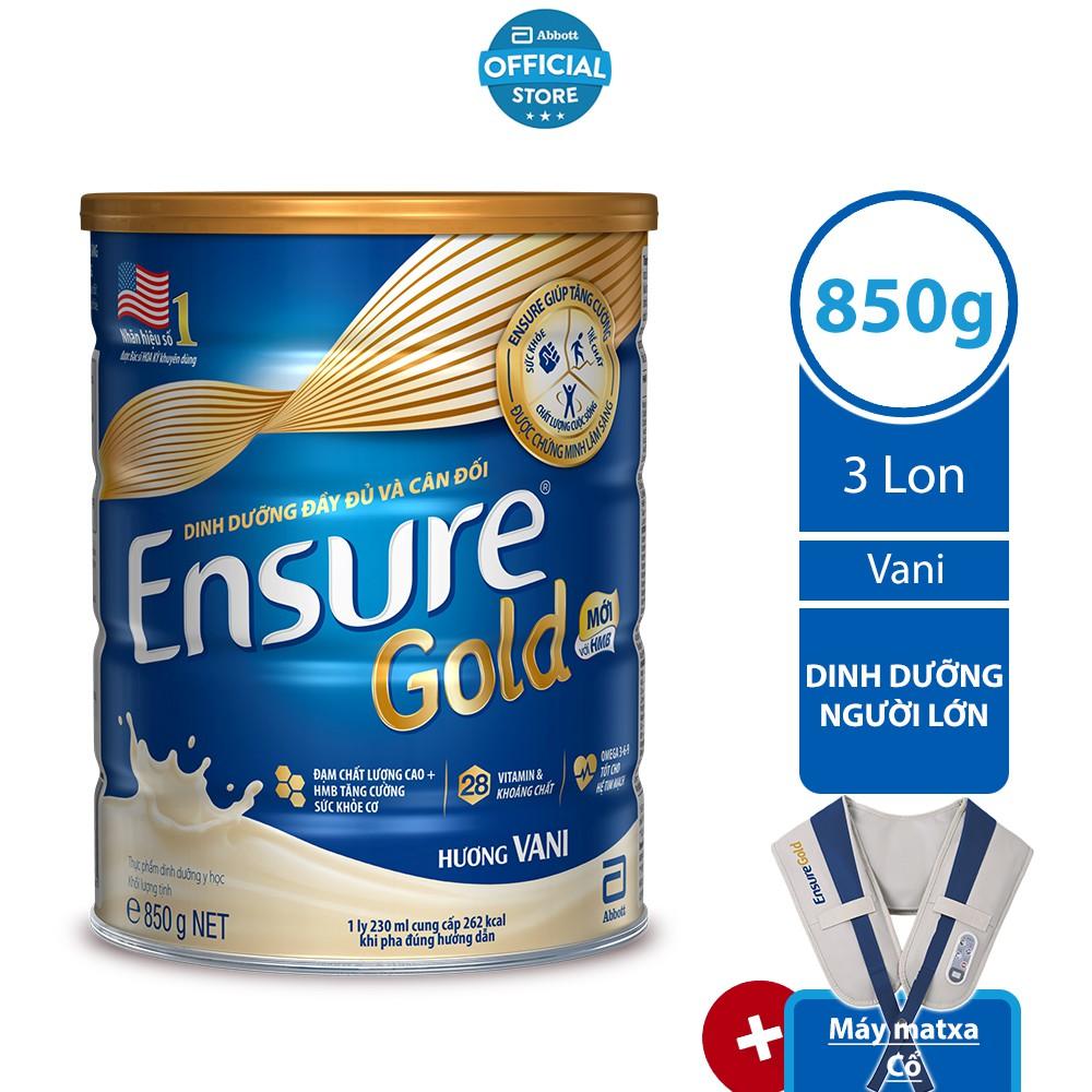 [Tặng Máy Matxa cổ] Bộ 03 lon Ensure Gold Vani (HMB) 850g/lon