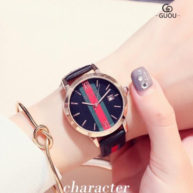 Đồng hồ nữ GUOU 8082 chính hãng dây da size 36mm