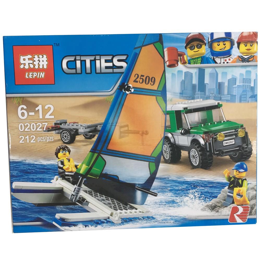 Lego xếp hình Cities - Ô tô chở thuyền đua 212 chi tiết