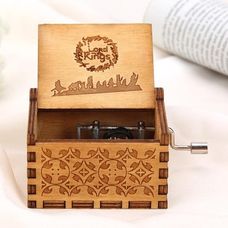 ✪WD✪Wooden Hand Cranked Music Box Home Crafts Ornaments