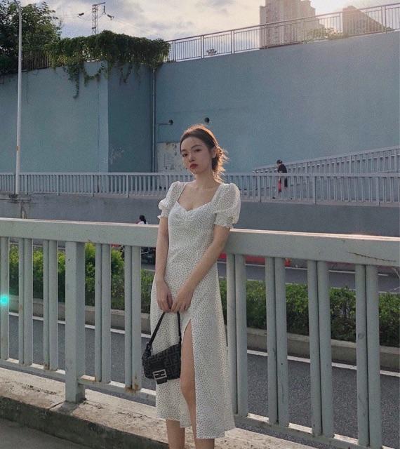 Mặc gì đẹp: Bồng bềnh với Đầm BI NHÍ trắng dài xẻ tà tay phồng tôn dáng(Có Ảnh Thật)