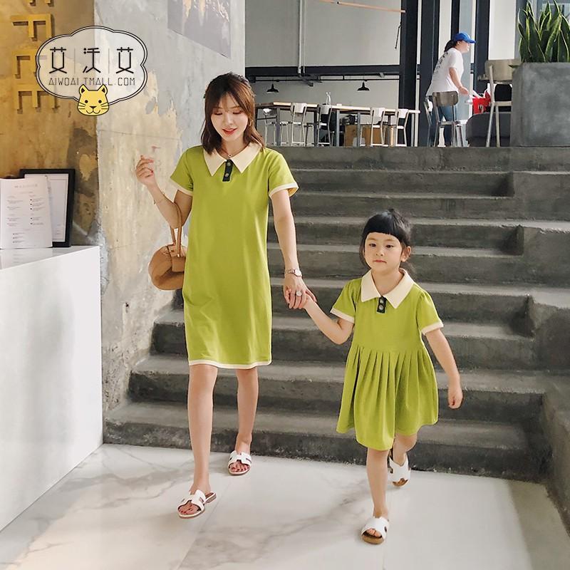 set áo thun ngắn tay cổ tròn+quần lửng cho mẹ và bé
