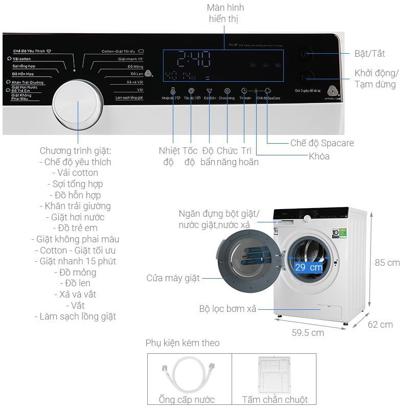 [Mã ELTECHZONE giảm 5% đơn 500K] Máy giặt lồng ngang Midea MFK85-1401WK Inverter 8.5Kg - Miễn Phí Lắp Đặt