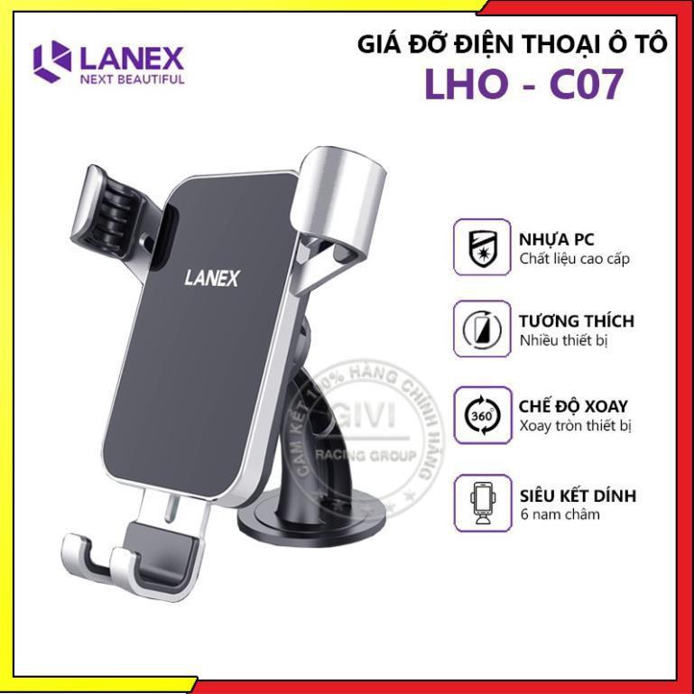 Giá đỡ điện thoại xe hơi LANEX LHO - C07 nhựa PC cao cấp, sử dụng đa năng tiện dụng