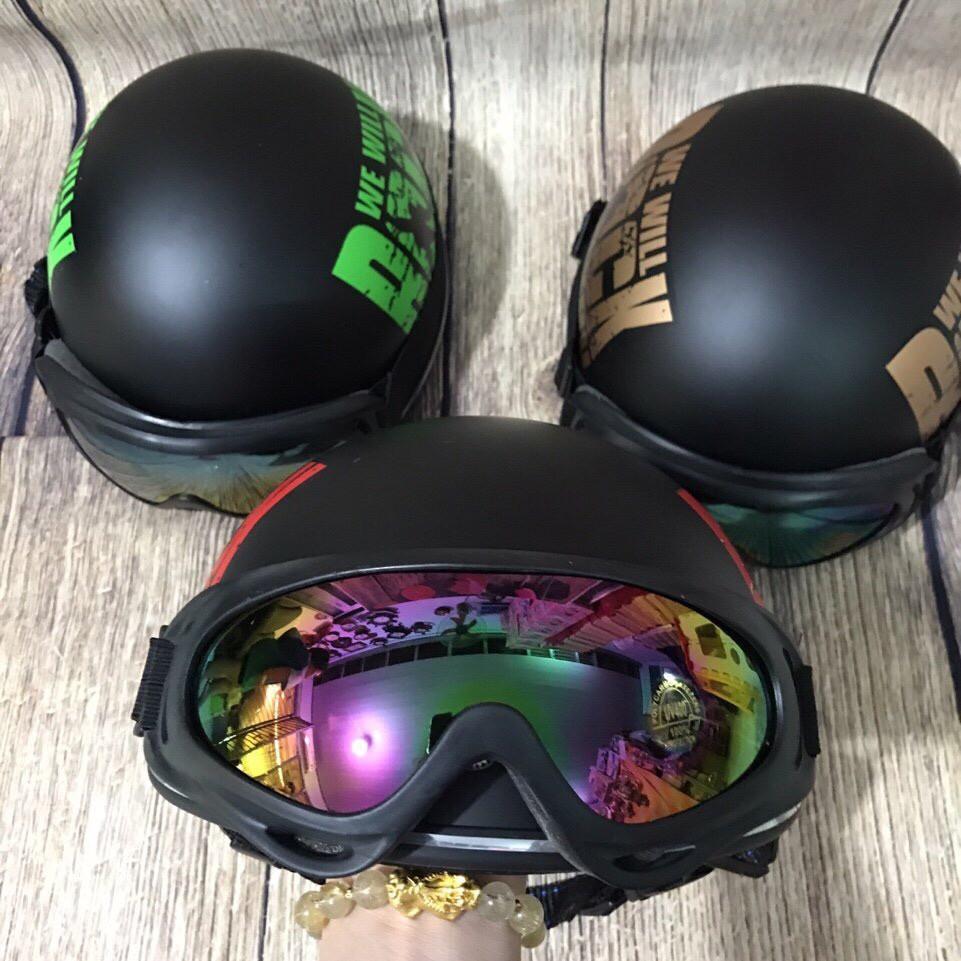 Kính gắn nón bảo hiểm nữa đầu và 3/4-kính uv 7 màu