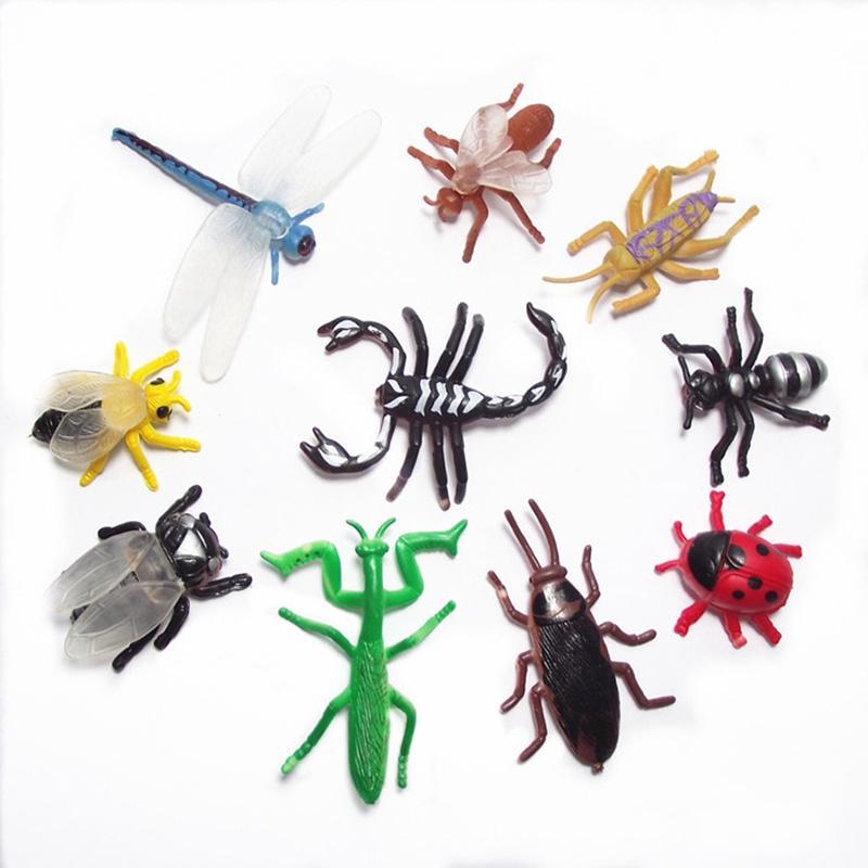 10pcs Plastic Insect Model Figure Kids Children Toys Bug Mantis Scorpion Ant Bee