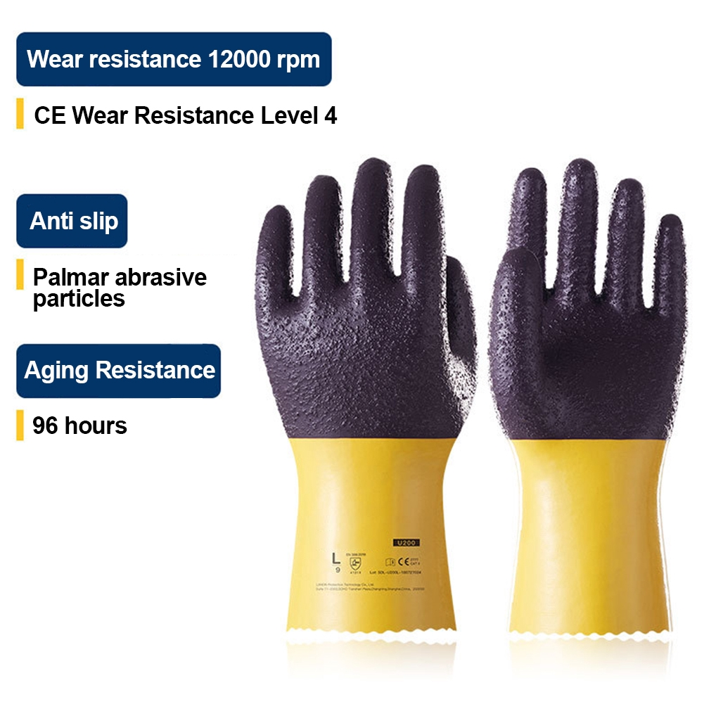 U200 Heavy Duty Oil Resistant Reusable Non Slip Protection Wear Safety Thicken Work Gloves