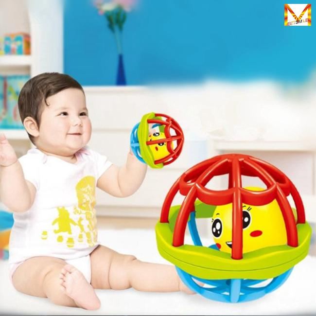 Infant Rattle Ball Teether Grasping Activity Toy Bendy Ball with Holes