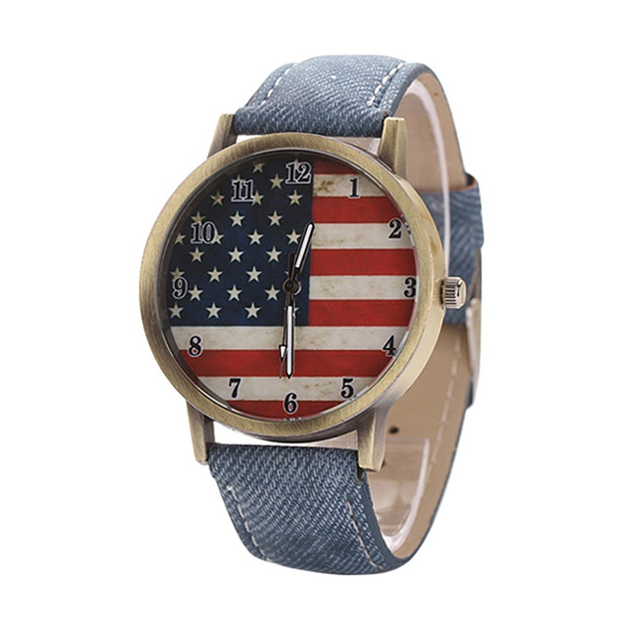 Đồng hồ Unisex hình lá cờ US dây đeo denim dành cho nữ
