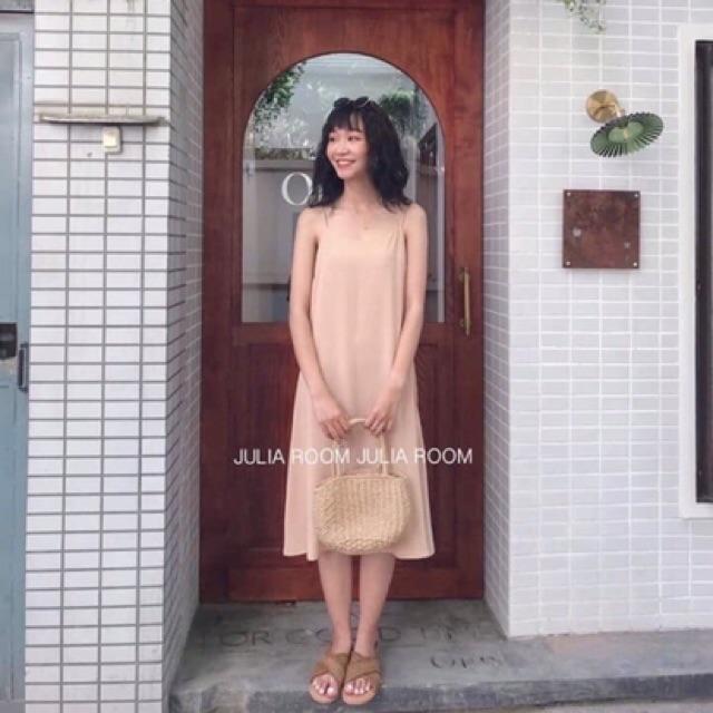 Váy hai dây đũi lua siêu mát hàng có size xẻ tà xinh xắn