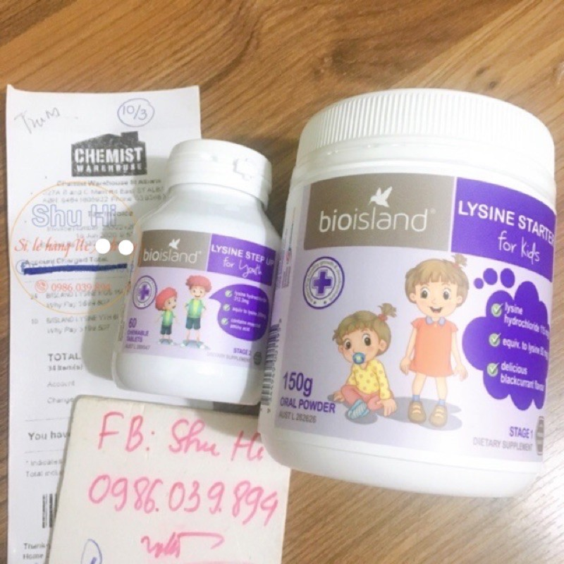 Lysine bột cho bé từ 7 tháng 6 tuổi Úc, đủ bill Chemist - Bio Island Lysine Starter for Kids 150g