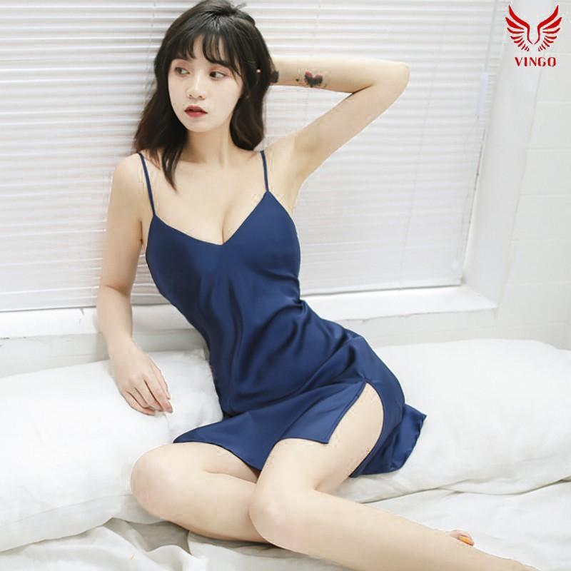VINGO Váy ngủ 2 dây nữ liền thân xẻ 1 bên lụa cao cấp gợi cảm mặc nhà VNGO N223