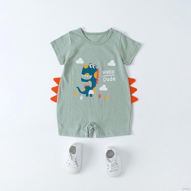 Áo liền quần ngắn tay in hình động vật cho bé