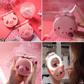 Quạt mini cầm tay có đèn led và gương soi hình thú dễ thương - Quạt Cầm Tay Hình Thú 3in1 (Quạt Mát+Đèn Led+Gương)