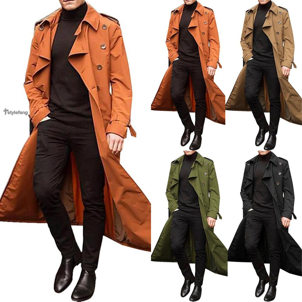 Coat Solid Color Windbreaker Full length Trench Overcoat Men's Lapel Button down Windproof Fall Casual Fashion