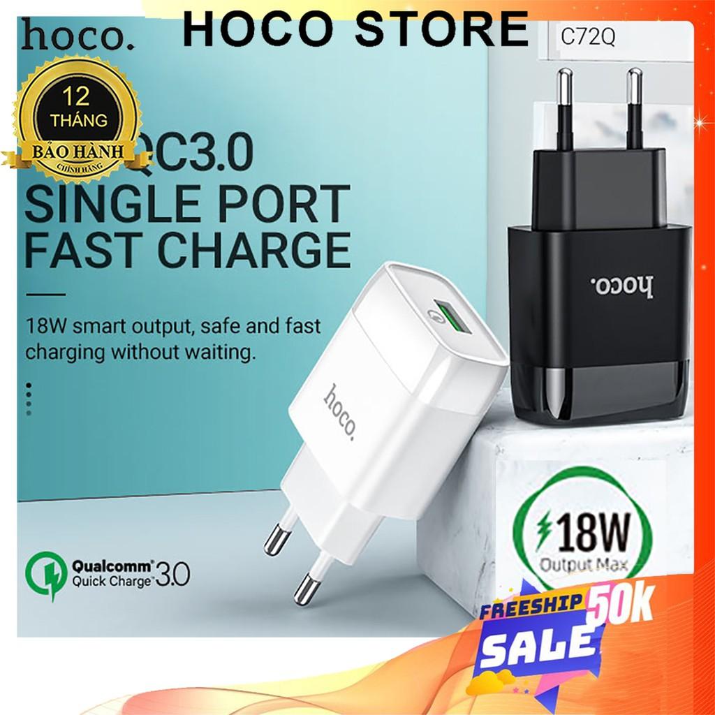 ⚡NowShip⚡ Cốc Sạc Nhanh IPhone 12 Pro Max Chính Hãng 18W Hoco C72Q Củ Sạc Nhanh Điện Thoại Cổng USB Cho Samsung Android
