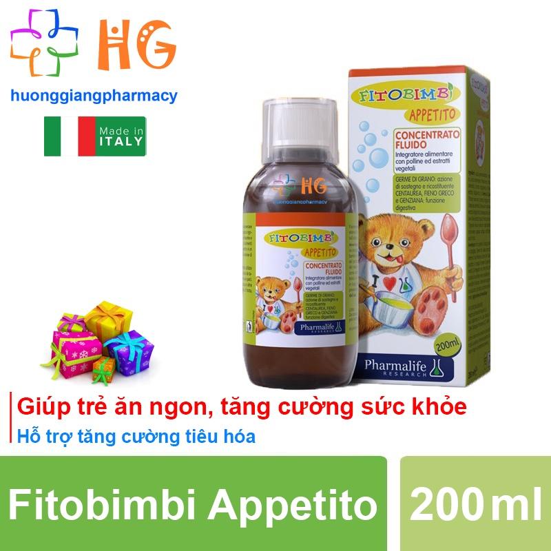 Fitobimbi Appetito, siro ăn ngon, giảm biếng ăn cho bé, giúp bé hấp thu dinh dưỡng hiệu quả (Chai 200ml)