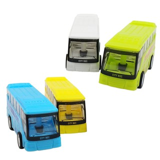Small Simulation Pull Back City Bus Model Mini Portable Cartoon Plastic Puzzle Toy Car 4 Colors
