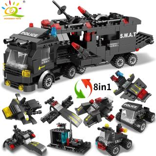 418PCS 8in1 City SWAT Police Command Trucks Building Blocks with Policeman Figures Car Helicopter model bricks Toys