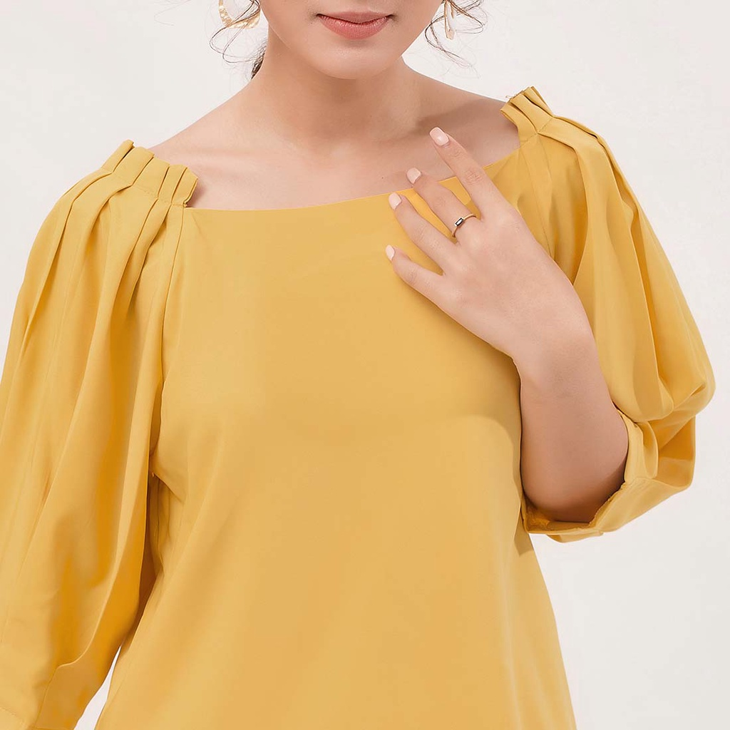 Mặc gì đẹp: Xinh tươi với Áo kiểu áo công sở thời trang Eden tay lỡ xếp li - ASM071