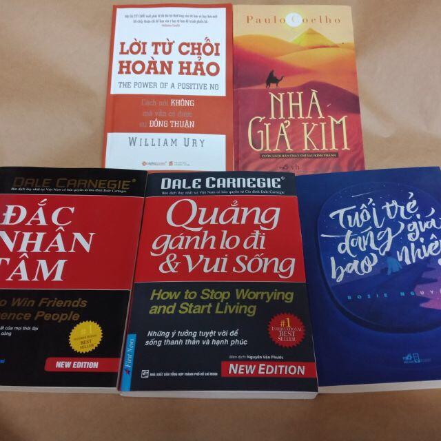 Sách - 5 cuốn nhà giả kim, đắc nhân tâm, đọc vị bất kì ai, quẳng gánh lo, tuổi trẻ