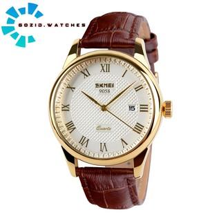 Đồng hồ nam dây da cao cấp SKMEI SM21 chống nước chống xước chính hãng -Gozid.watches