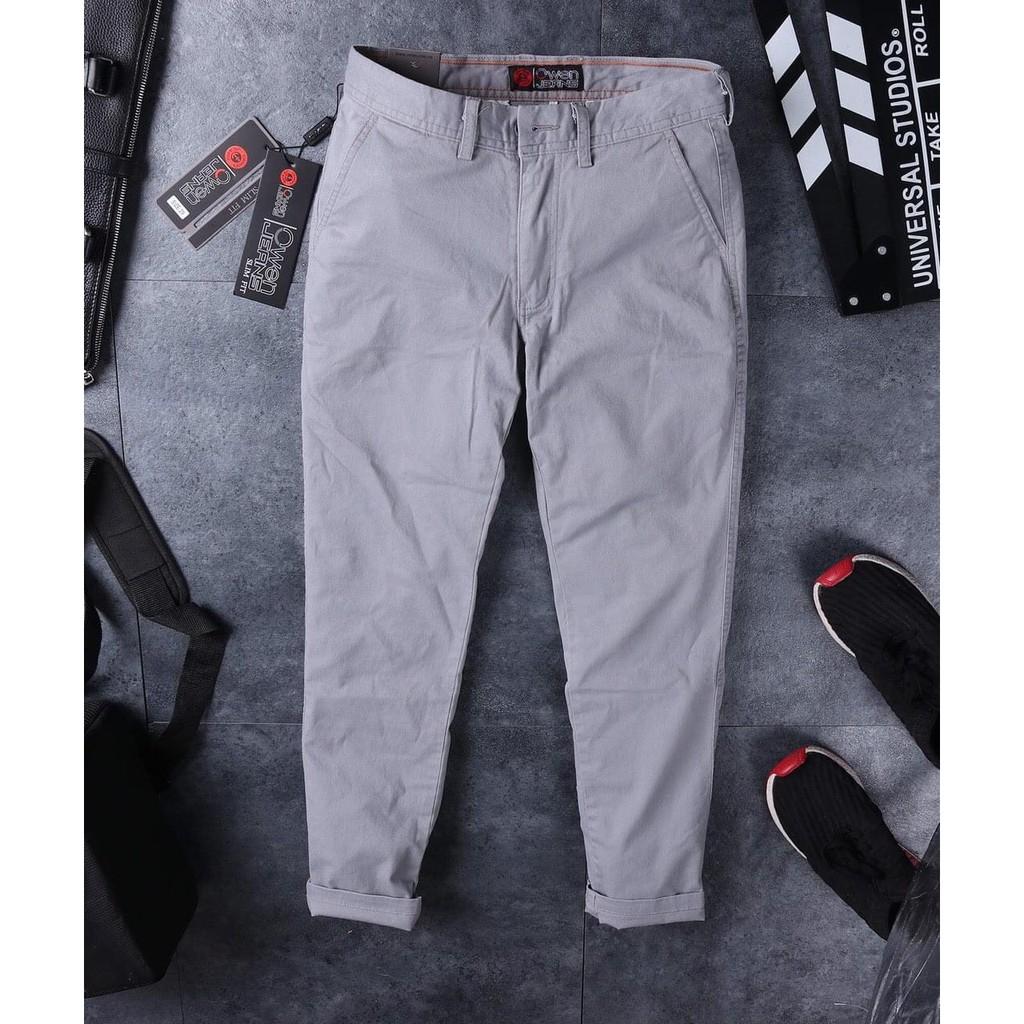Quần kaki Owen nam màu Ghi nhạt Dáng SlimFit trẻ trung Chất liệu mềm mịn Hàng hãng - Thời trang Adam Fashion