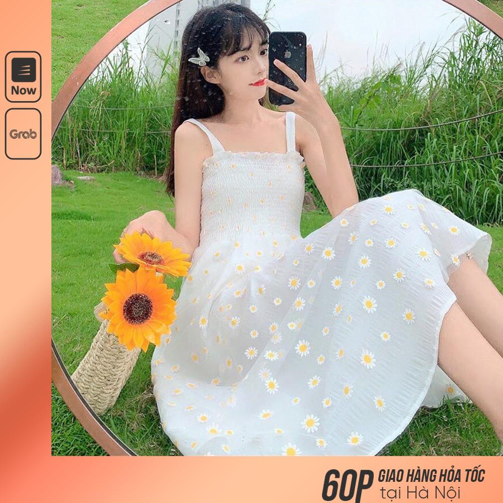 Váy 2 Dây Xòe Lưới Dáng Dài Mix Áo Khoác Cardigan Mỏng/ Đầm Họa Tiết Hoa Cúc Dễ Thương Hot Trend 2021 V00198
