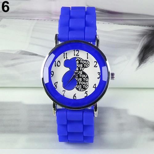 Đồng hồ dây đeo Silicon họa tiết chú gấu dễ thương cho nữ