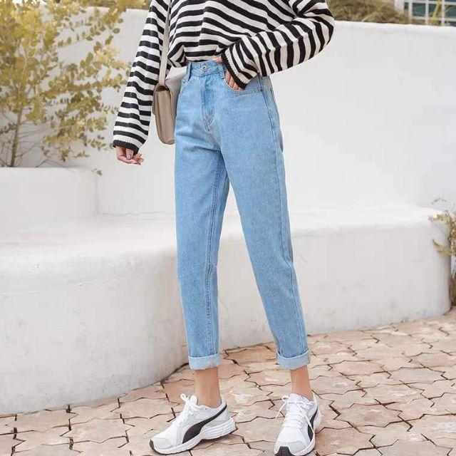 Mom jeans xanh nhạt