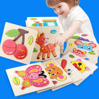 Wooden Puzzle Jigsaw Cartoon Kids Educational Learning Toys