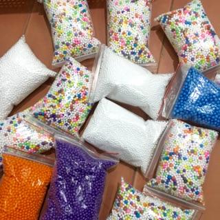 Hạt xốp mầu 4 gói trang trí làm slime , hộp quà tặng túi to 12x18cm
