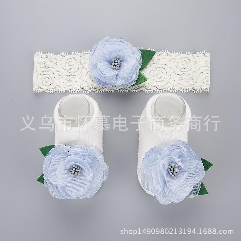 set tất hoa xanh kèm băng đô